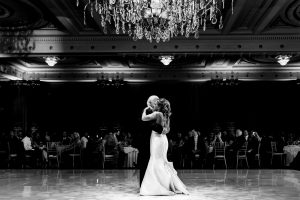 Black and White image of bride dancing with her father at the Crystal Tea Room in Philadelphia