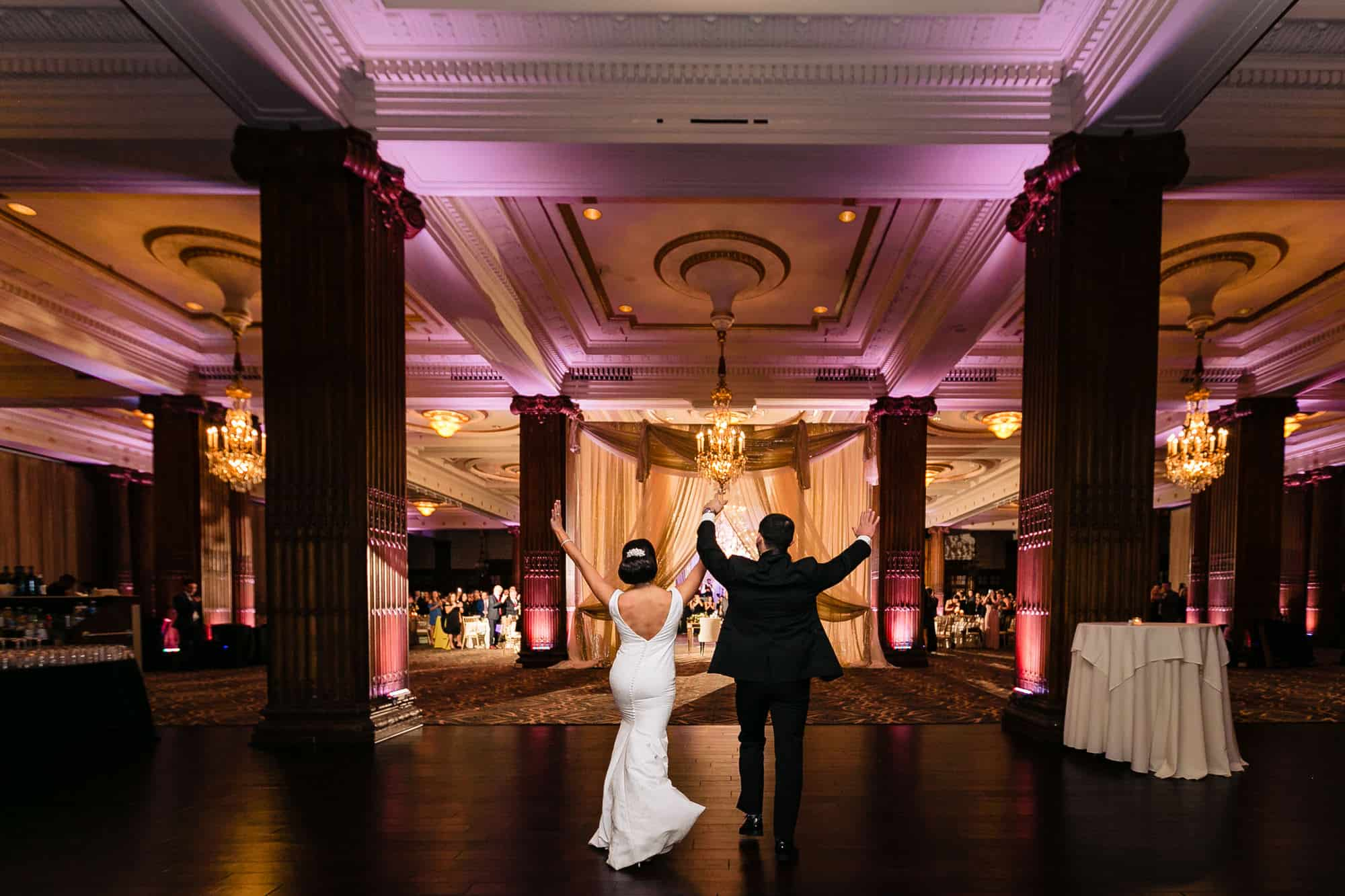 bride and groom entering reception at the Crystal tea Room in Philadelphia