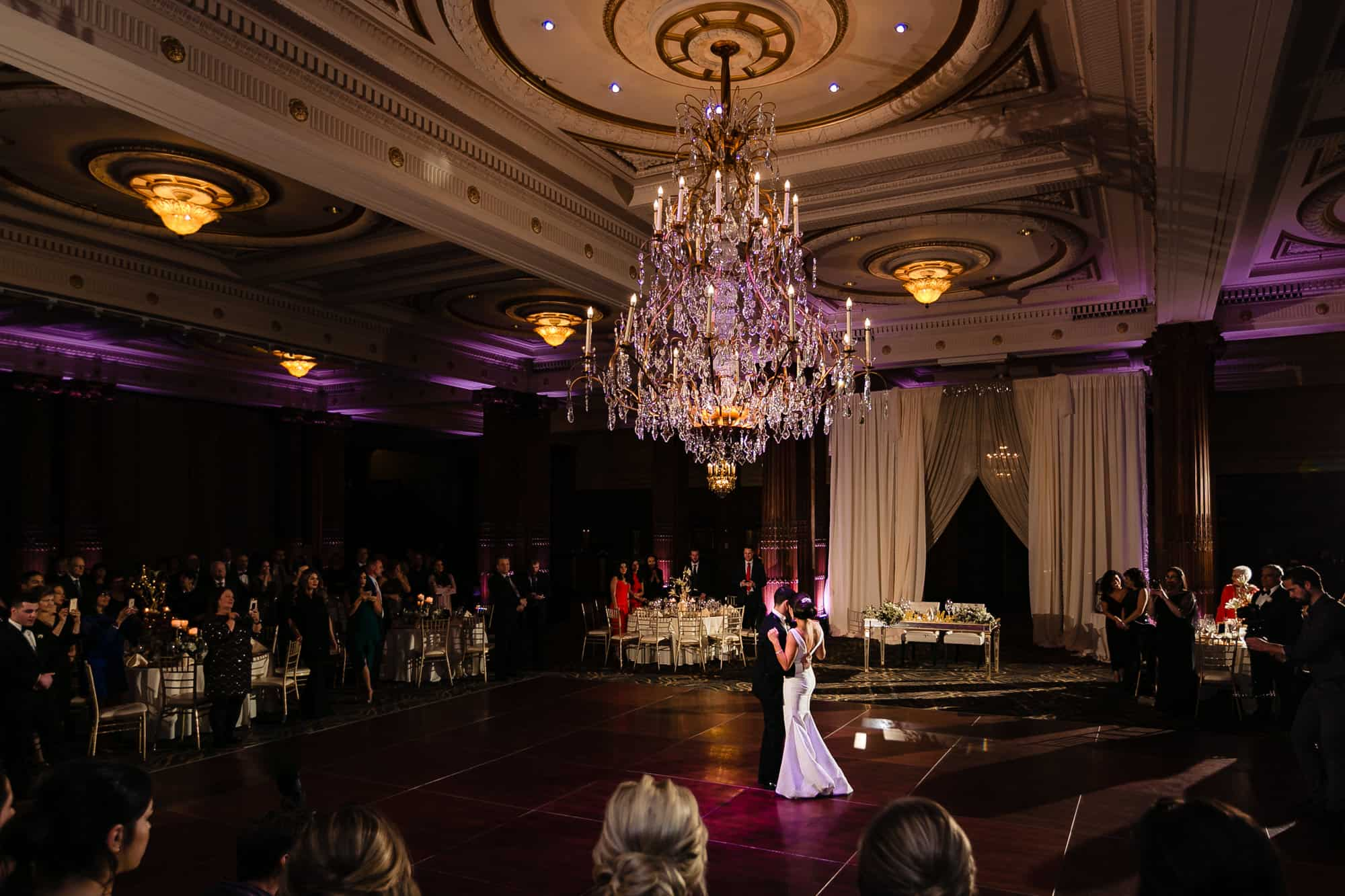 wide shot of bride and groom first dance at the Crystal Tea Room in Philadelphia