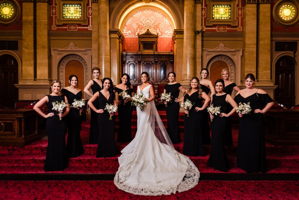 Bride and bridemaids portrait
