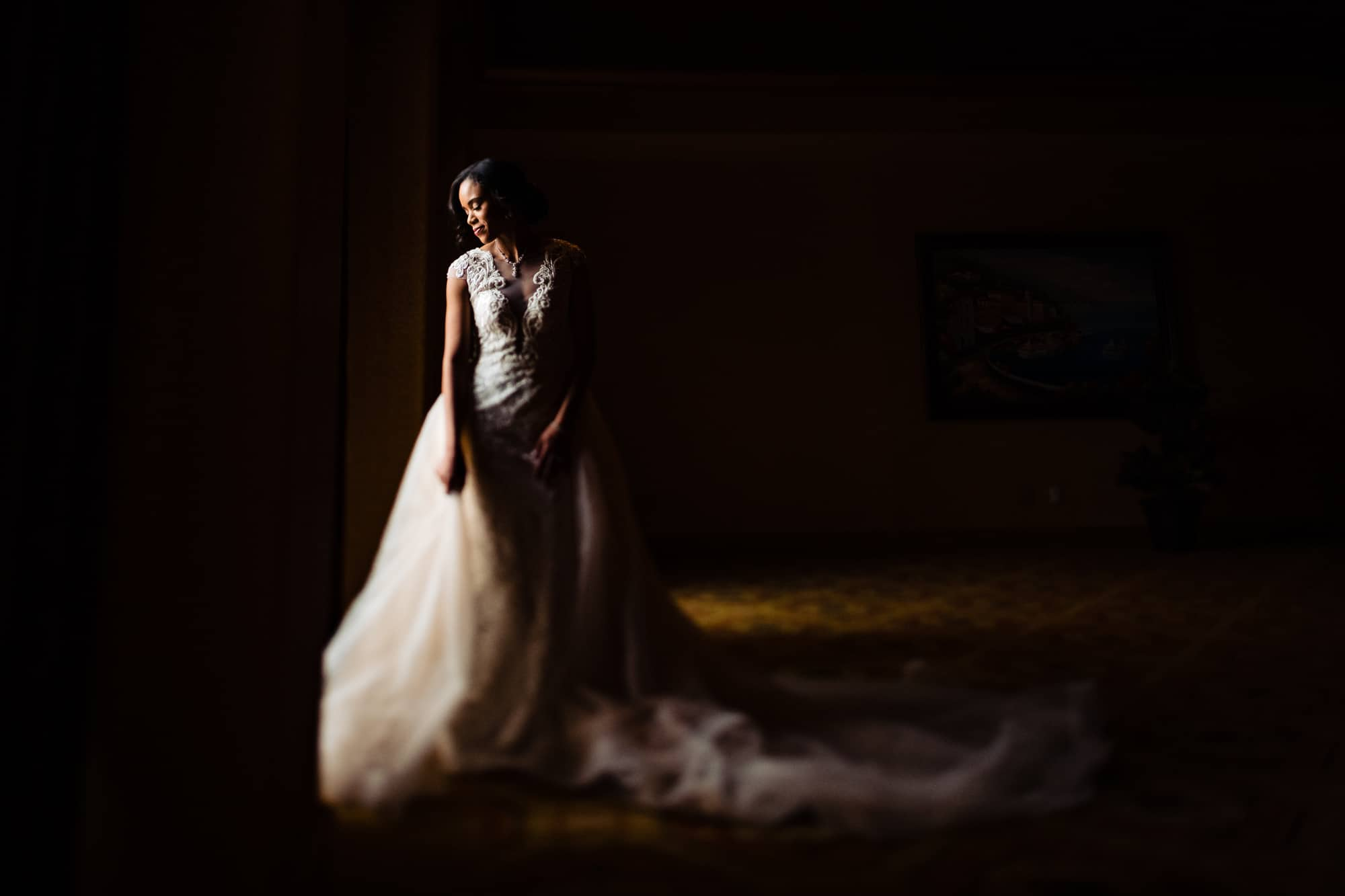 Bride posing in beautiful window light