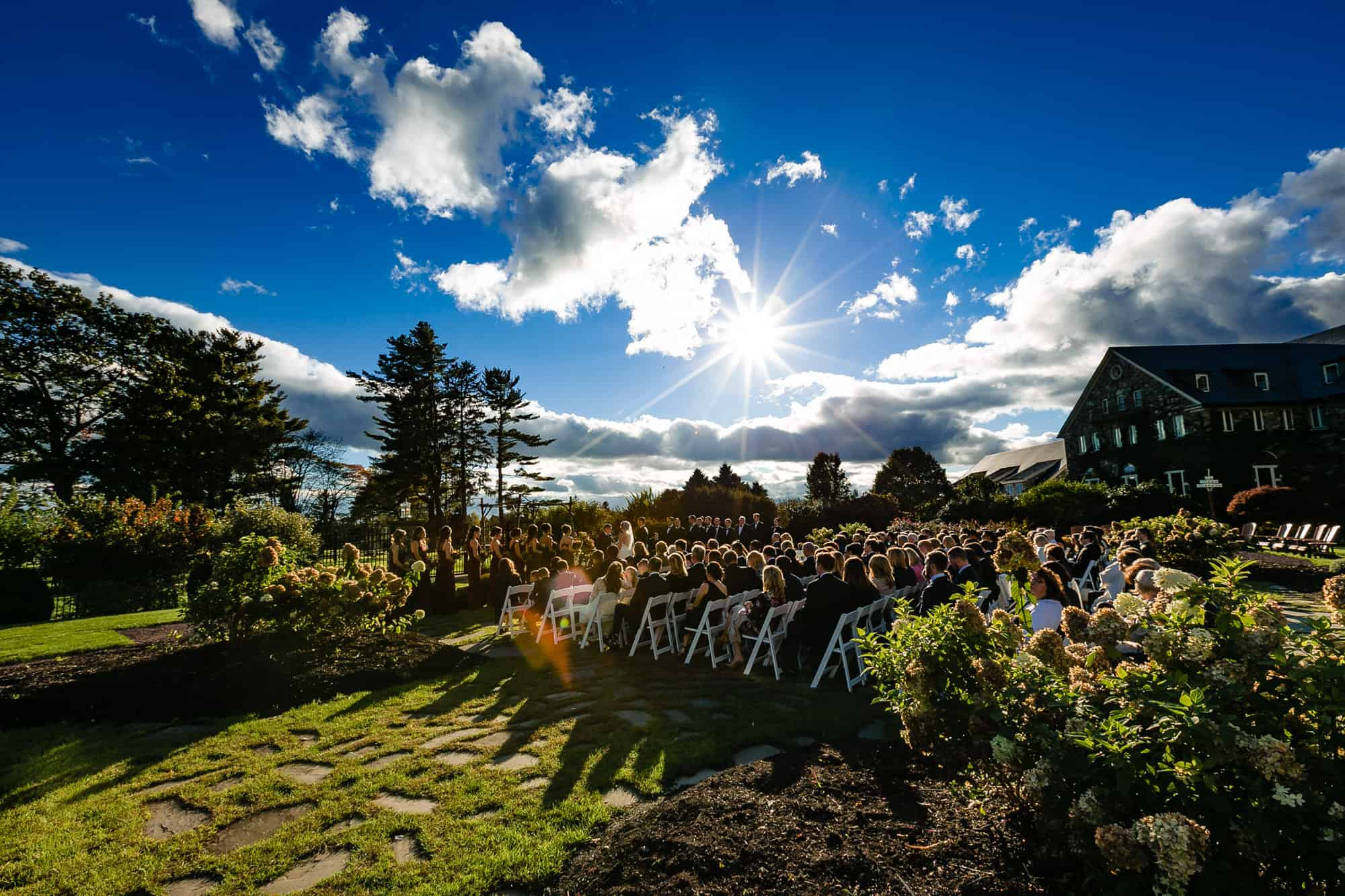 Outdoor wedding ceremony at Skytop Lodge PA