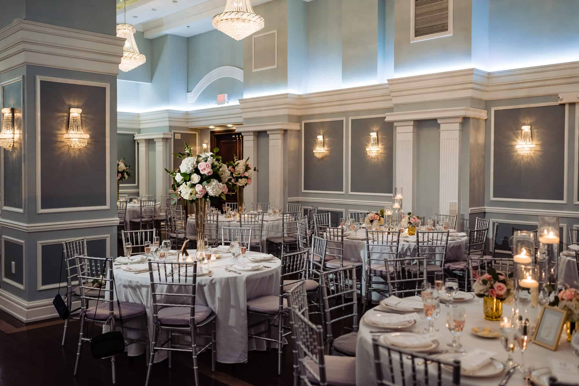 Image of wedding reception setup for an Arts Ballroom Wedding in Philadelphia