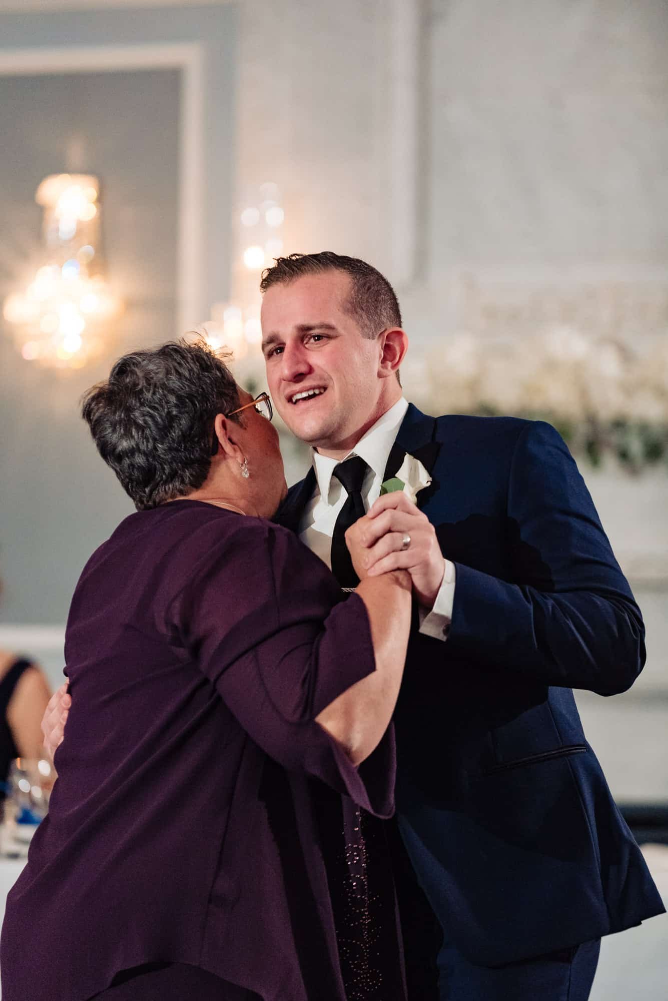 Groom dancing with his mother at an Arts Ballroom Wedding