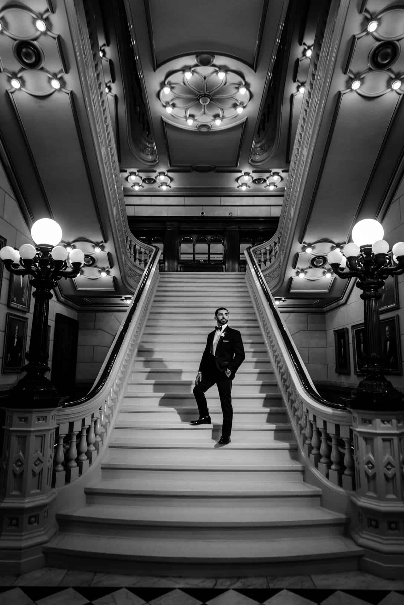 Portrait of handsome groom at Masonic Temple of Philadelphia