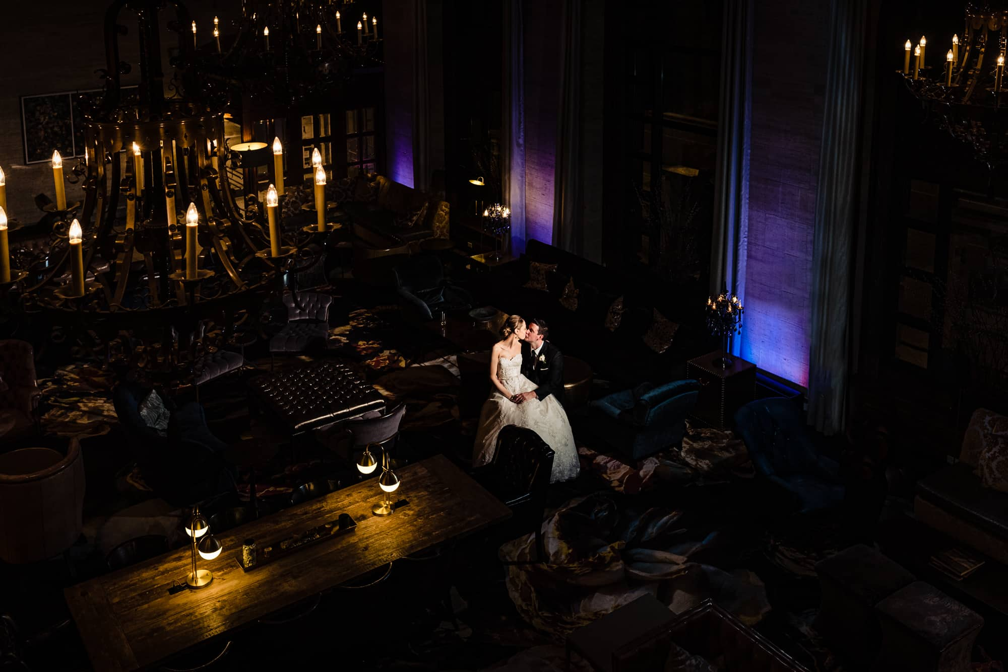 Romantic photo of bride and groom at Hotel DuPont in Wilmington Delaware