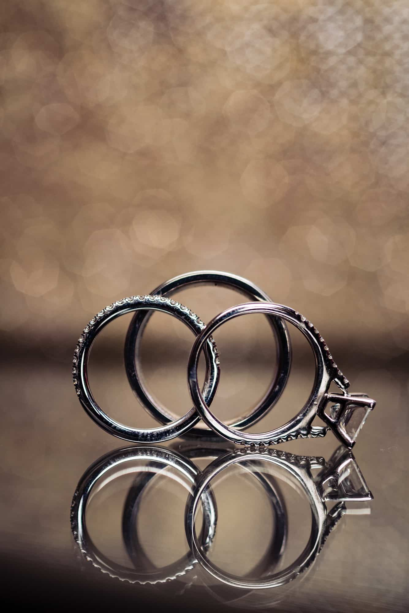 Closeup image of wedding rings at a Hotel Dupont Wedding
