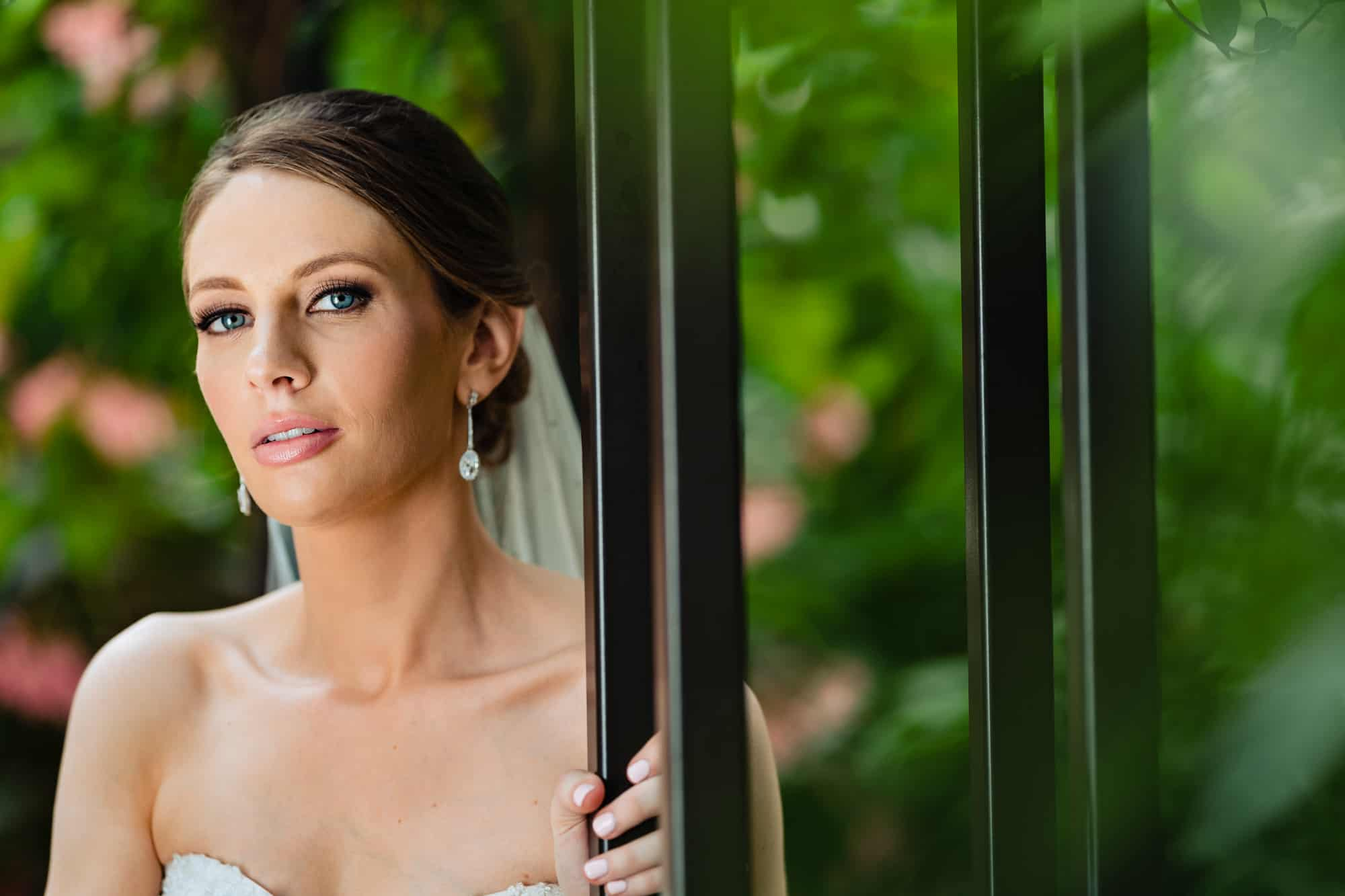 close up of bride at Longwood Gardens