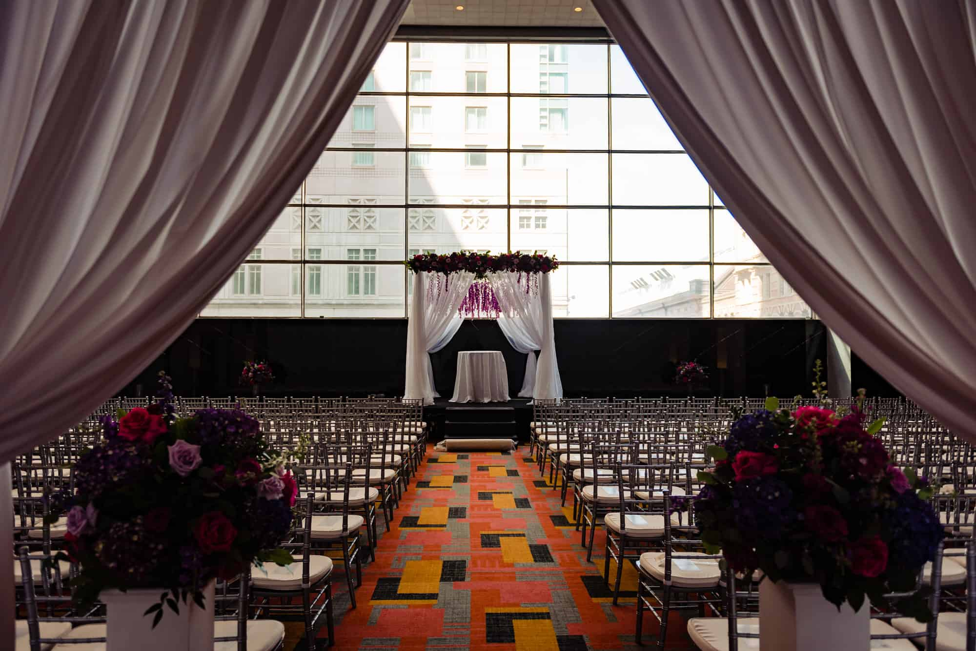 image of chuppah before a Loews Philadelphia Wedding ceremony
