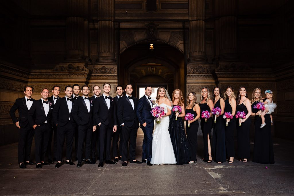 image of bridal party posing together during a Philadelphia Wedding