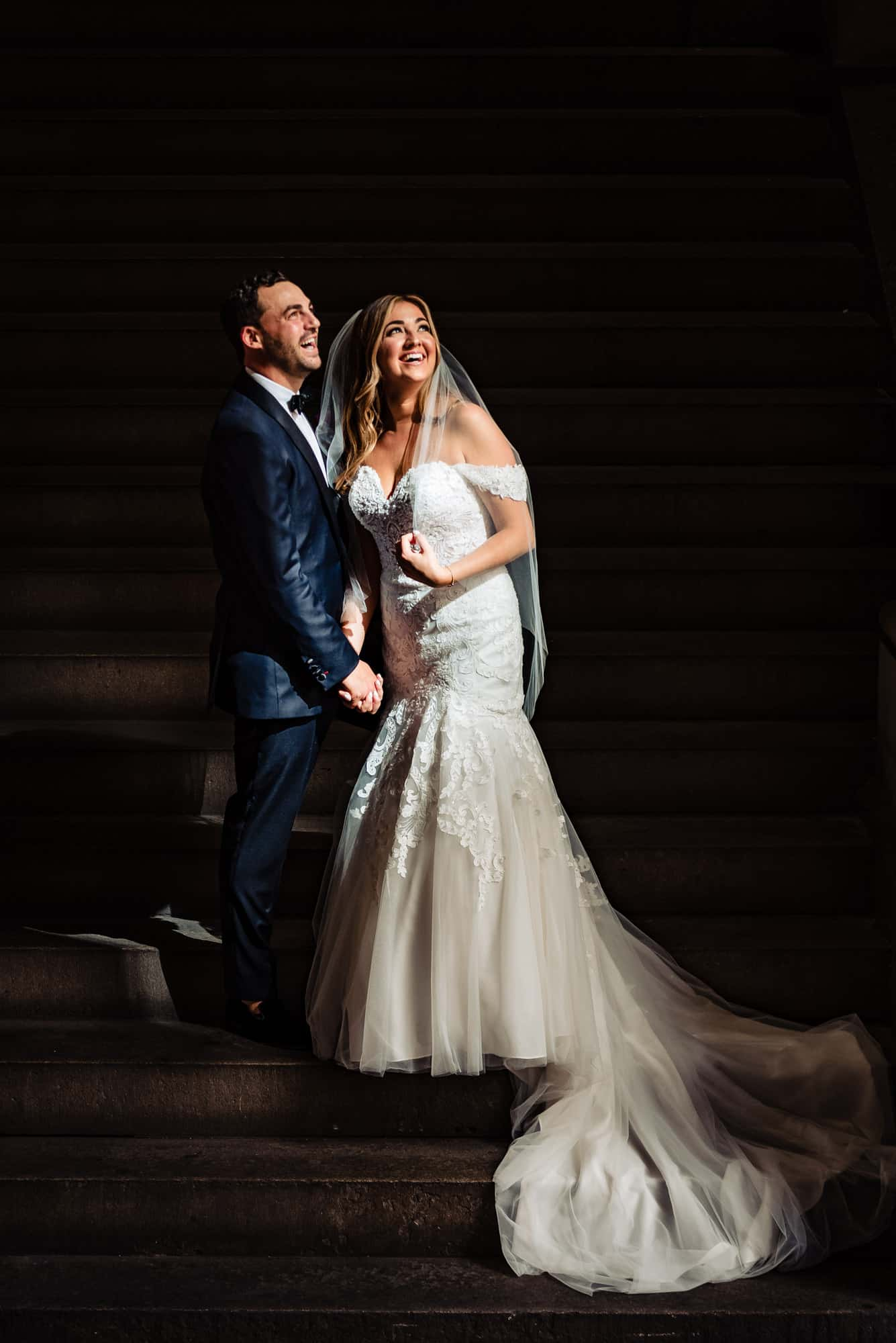 image of bride and groom laughing during their Philadelphia Wedding