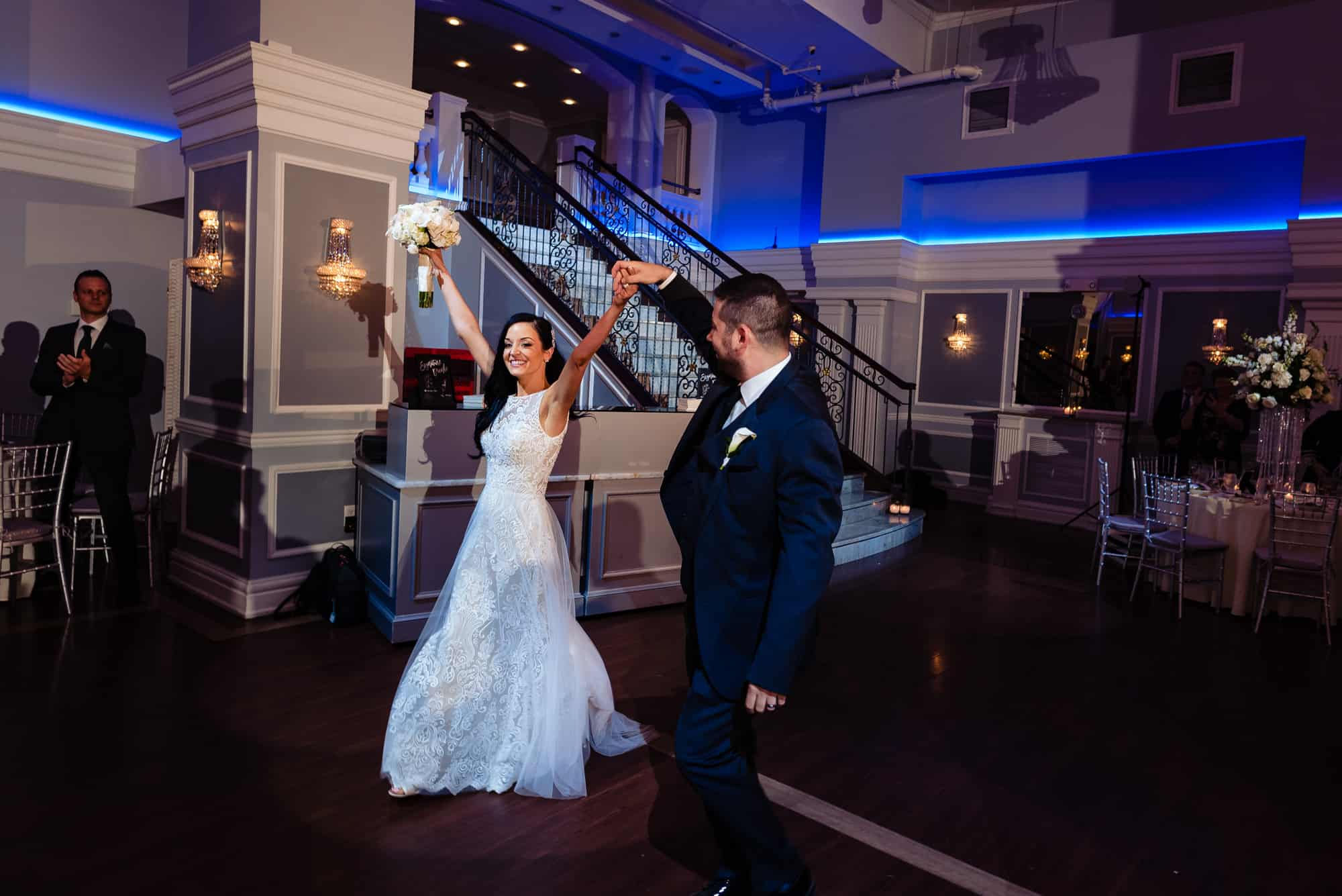 bride and grroms entrance into their Arts Ballroom Philadelphia reception