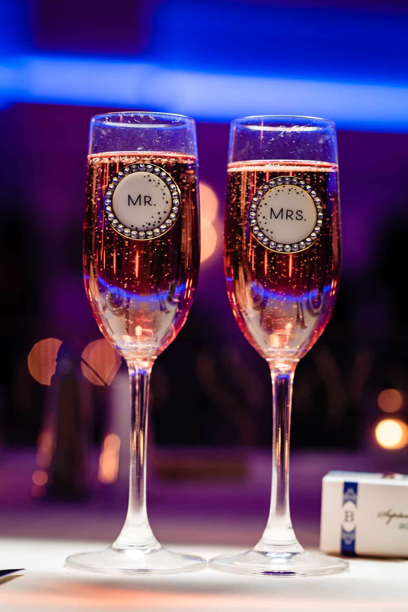 bride and groom champagne glasses at an Arts Ballroom Philly wedding