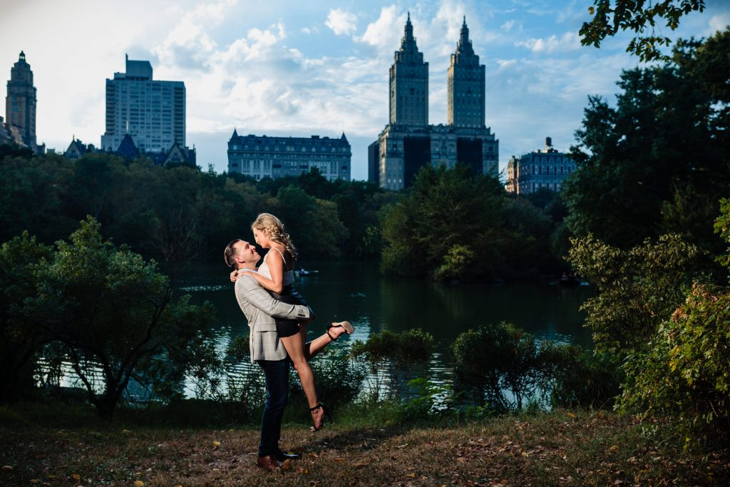 couple embracing during their Central Park eshoot