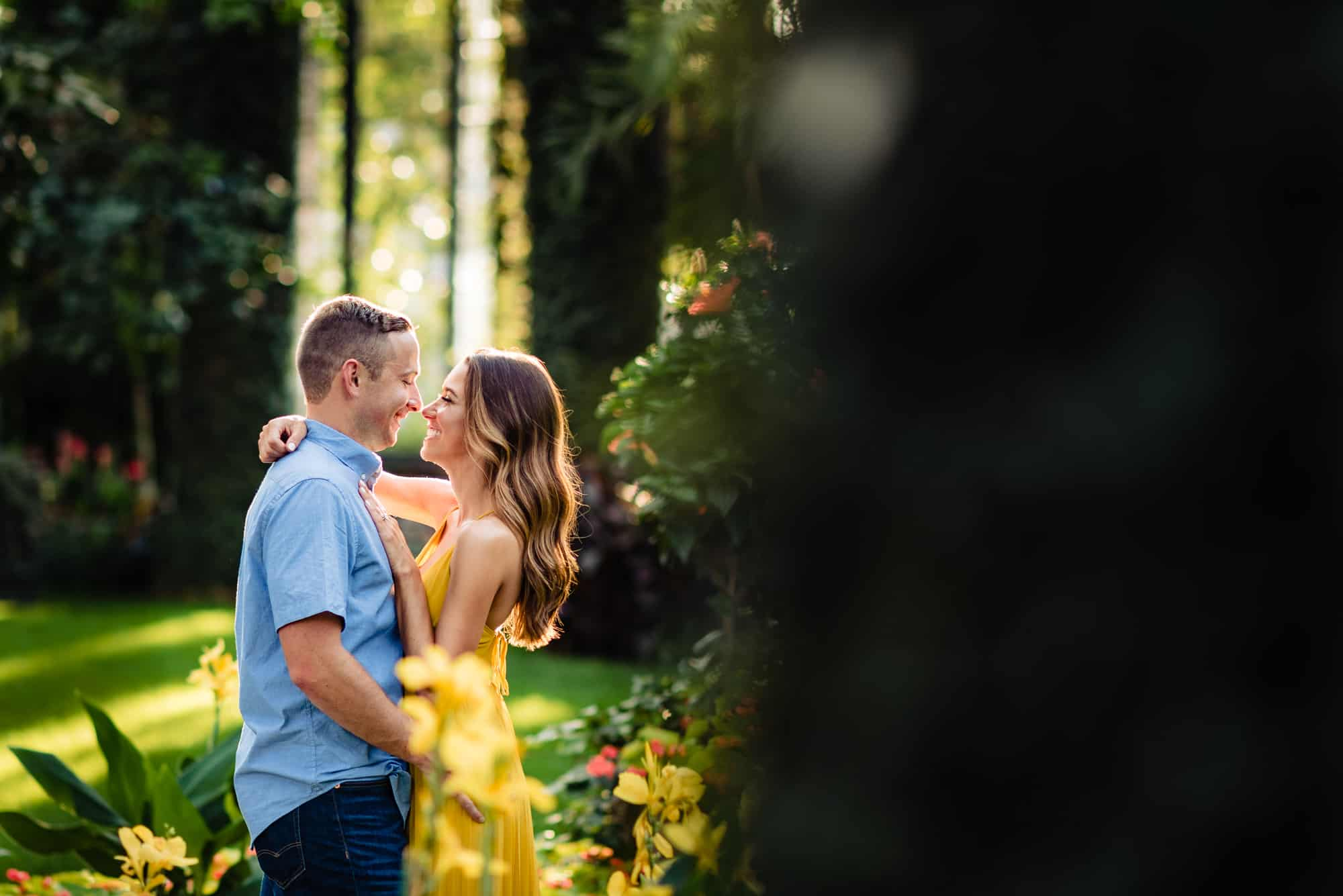 couple embracing in beautiful light during their Longwood Gardens eshoot
