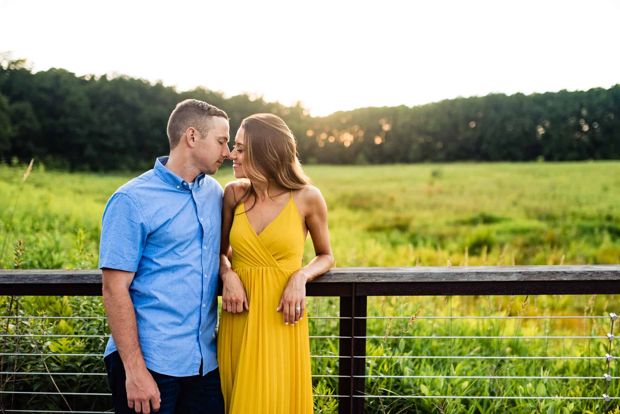 couple about to kiss during their Longwood Gardens eshoot