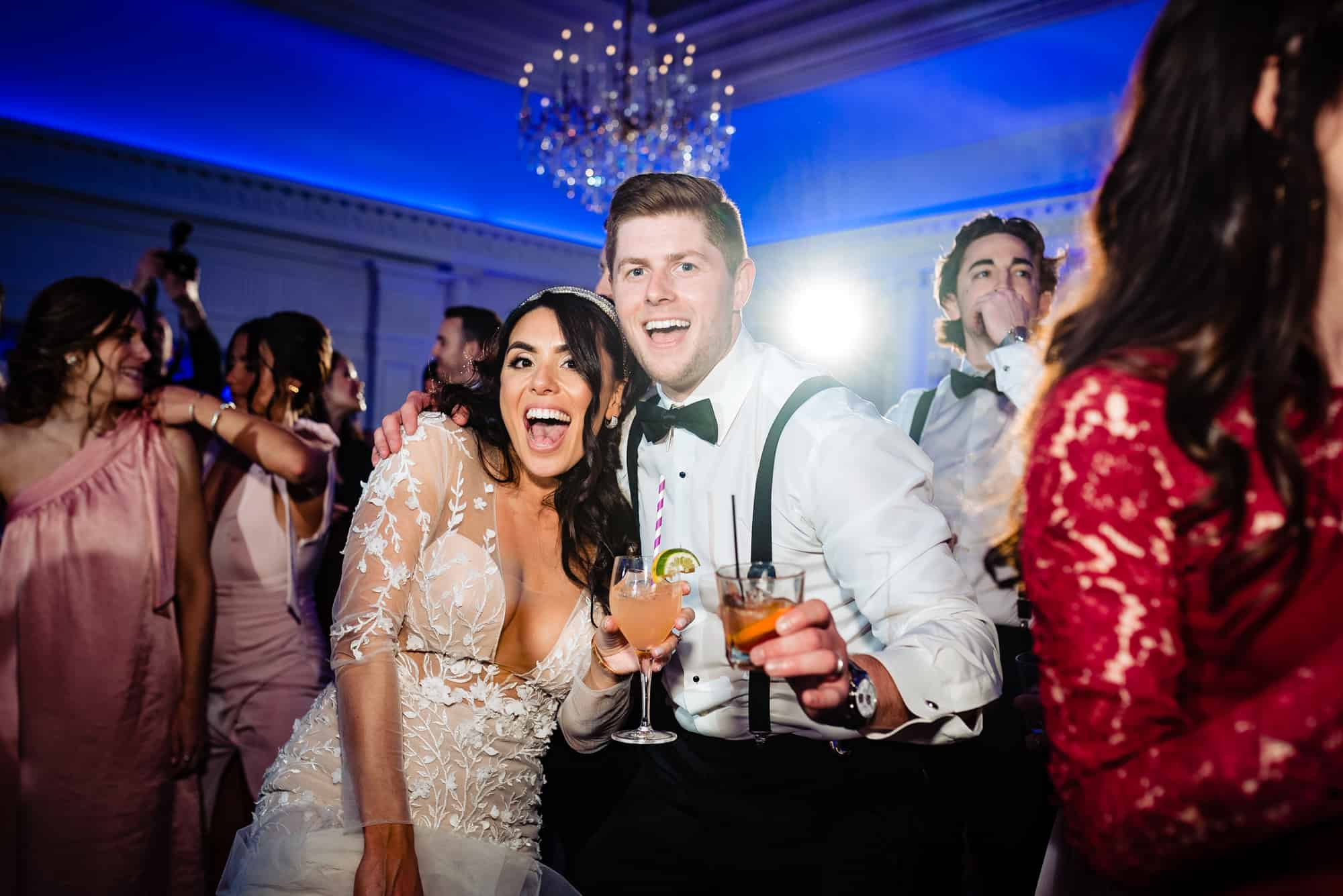 Bride and groom having a great time at the Park Chateau Wedding recpetion