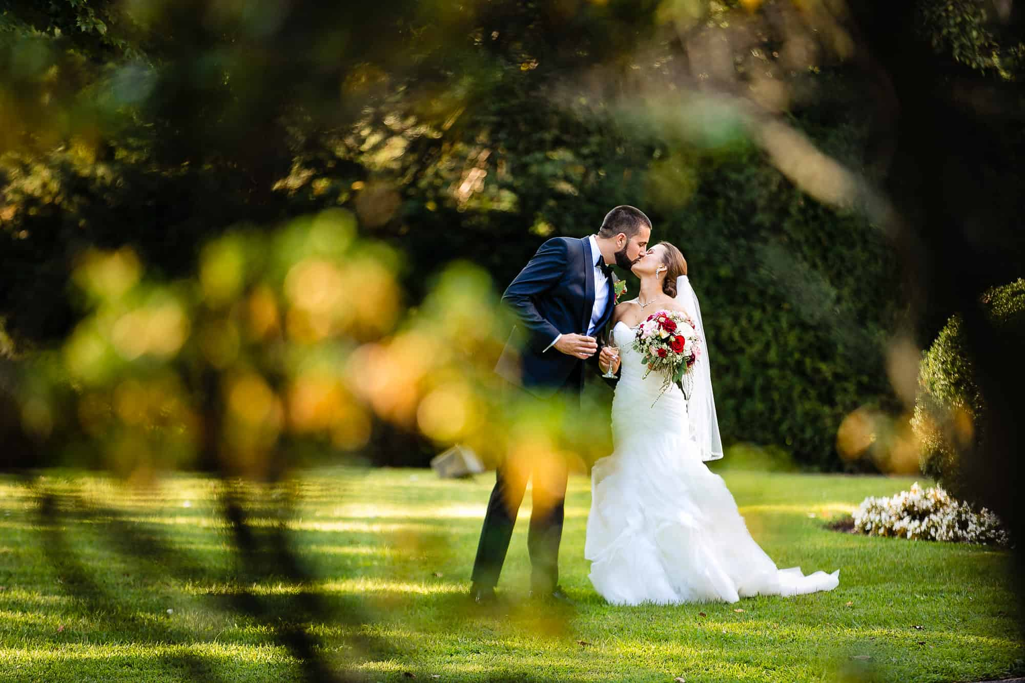 bride and groom kissing at the their Glen Foerd Wedding