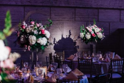 Detail shot of floral centerpiece at Union Trust Philadelphia